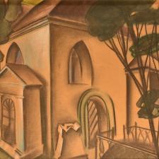Skupa Josef, Plzeňský motiv, nedatováno, pastel, papír barevný, 41,5 x 57,5 cm, K 961