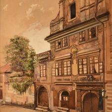 Skupa Josef, Gerlachův dům, 1909, akvarel, papír, 47,5 x 32 cm, K 1099