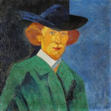 Bohumil Kubišta: Vlastní podobizna s modrým pozadím (1908)
