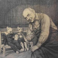 Rudolf Brachtl,  Josef Skupa se svými loutkami, 1952